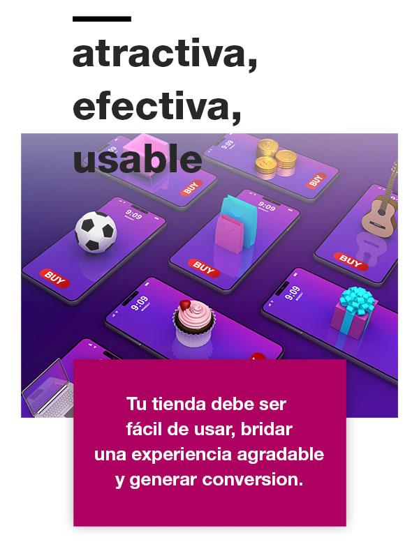 Tienda en línea atractiva, efectiva y usable